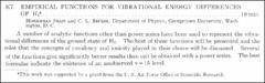 Thumbnail of EMPIRICAL FUNCTIONS FOR VIBRATIONAL ENERGY DIFFERENCES OF $H_{2}^{*} $