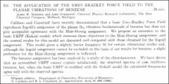 Thumbnail of THE APPLICATION OF THE UREY-BRADLEY FORCE FIELD TO THE PLANAR VIBRATIONS OF BENZENE