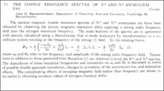 Thumbnail of THE DOUBLE RESONANCE SPECTRA OF $N^{14}$ AND $N^{15}$ AMMONIUM