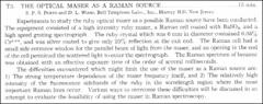 Thumbnail of THE OPTICAL MASER AS A RAMAN SOURCE