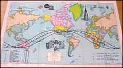 rand mcnally cosmopolitan world map official record of first us manned orbital flight in space travels seattle worlds fair 1962 souvenir edition