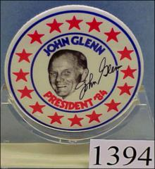 "Thumbnail of ""John Glenn President '84"" button featuring a photograph of Glenn surrounded by a circle of stars"