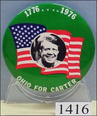 "Thumbnail of ""1776….1976 - Ohio for Carter"" button"