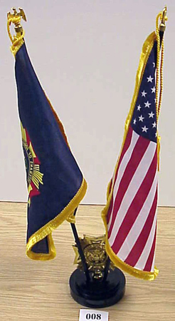 Paired set of flags of the United States and the Veterans of