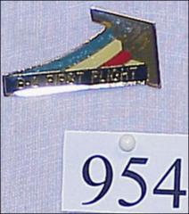 Thumbnail of B-2 First Flight pin with drawing of B-2 Stealth Bomber