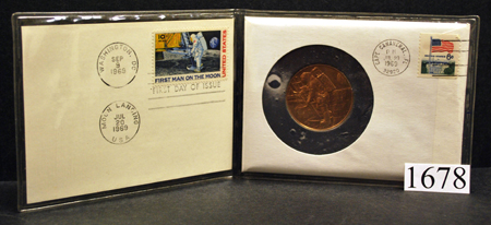 Bronze Medal Of The First Man On Moon Encased Within A
