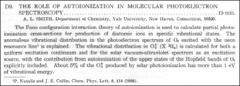 Thumbnail of THE ROLE OF AUTOIONIZATION IN MOLECULAR PHOTOELECTRON SPECTROSCOPY
