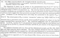 Thumbnail of ON THE CALCULATION OF UNIQUE FORCE CONSTANTS