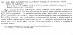 Thumbnail of THE HIGH RESOLUTION MAGNETIC CIRCULAR DICHROISM SPECTRUM OF Cs $ZrCl_{6}$: $Ir^{4+}$