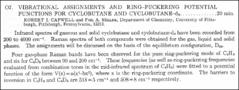 Thumbnail of VIBRATIONAL ASSIGNMENTS AND RING-PUCKERING POTENTIAL FUNCTIONS FOR CYCLOBUTANE AND CYCLOBUTANE-$d_{8}$