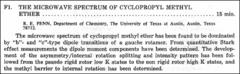 Thumbnail of THE MICROWAVE SPECTRUM OF CYCLOPROPYL METHYL ETHER