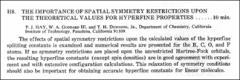 Thumbnail of THE IMPORTANCE OF SPATIAL SYMMETRY RESTRICTIONS UPON THE THEORETICAL VALUES FOR HYPERFINE PROPERTIES