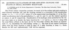 Thumbnail of AB-INITIO CALCULATIONS OF NMR SPIN-SPIN COUPLING CONSTANTS IN SMALL DIATOMIC MOLECULES