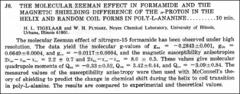 Thumbnail of THE MOLECULAR ZEEMAN EFFECT IN FORMAMIDE AND THE MAGNETIC SHIELDING DIFFERENCE OF THE $\alpha$-PROTON IN THE HELIX AND RANDOM COIL FORMS IN POLY-L-ANANINE