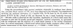 Thumbnail of PRECISION STARK SPECTROSCOPY OF $CH_{4}$ BY NONLINEAR LASER ABSORPTION