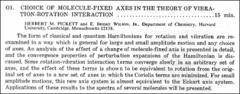 Thumbnail of CHOICE OF MOLECULE-FIXED AXES IN THE THEORY OF VIBRATION-ROTATION INTERACTION