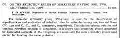 Thumbnail of ON THE SELECTION RULES OF MOLECULES HAVING ONE, TWO, AND THREE $CH_{3}$ TOPS