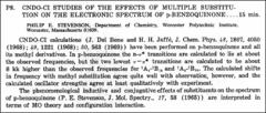 Thumbnail of CNDO-CI STUDIES OF THE EFFECTS OF MULTIPLE SUBSTITUTION ON THE ELECTRONIC SPECTRUM OF p-BENZOQUINONE