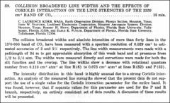 Thumbnail of COLLISION BROADENED LINE WIDTHS AND THE EFFECTS OF CORIOLIS INTERACTION ON THE LINE STRENGTHS OF THE $3339  cm^{-1}$ BAND OF $CO_{2}$