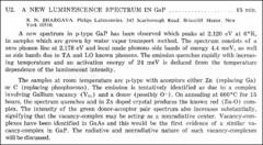 Thumbnail of A NEW LUMINESCENCE SPECTRUM IN GaP