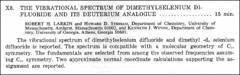 Thumbnail of THE VIBRATIONAL SPECTRUM OF DIMETHYLSELENIUM DIFLUORIDE AND ITS DEUTERIUM ANALOGUE