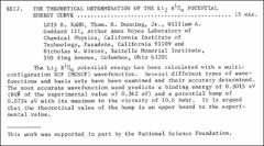 Thumbnail of THE THEORETICAL DETERMINATION OF THE $Li_{2} B^{1}\Pi_{u}$ POTENTIAL ENERGY CURVE