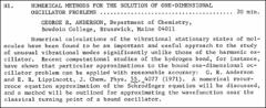 Thumbnail of NUMERICAL METHODS FOR THE SOLUTION OF ONE-DIMENSIONAL OSCILLATOR PROBLEMS