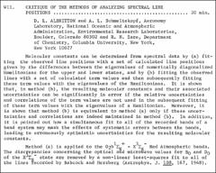 Thumbnail of CRITIQUE OF THE METHODS OF ANALYZING SPECTRAL LINE POSITIONS