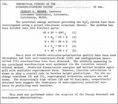 Thumbnail of THEORETICAL STUDIES OF THE HYDROGEN-FLUORINE SYSTEM