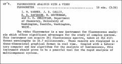 Thumbnail of FLUORESCENCE ANALYSIS WITH A VIDEO FLUOROMETER