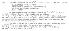 Thumbnail of RADIATIVE LIFETIME OF LiH $A^{1}\Sigma^{+}$