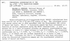 Thumbnail of THEORETICAL DETERMINATION OF THE $Na_{2}~ A^{1}\Sigma^{+}_{u} \rightarrow X^{1}\Sigma^{+}_{g}$ TRANSITION MOMENT AND LIFETIMES