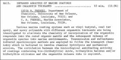 Thumbnail of INFRARED ANALYSIS OF MARINE COATINGS AND ORGANOTIN TOXICANTS