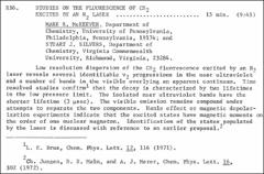 Thumbnail of STUDIES ON THE FLUORESCENCE OF $CS_{2}$ EXCITED BY AN $N_{2}$ LASER